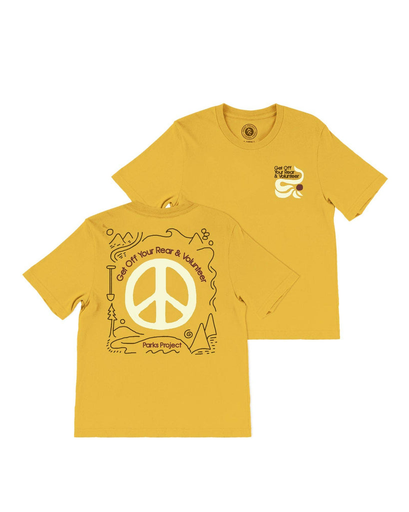 Mustard color boxy tee get off your rear and volunteer