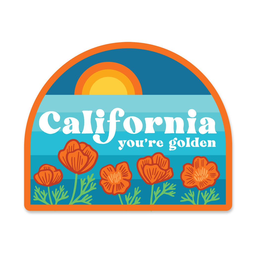 California you're golden sticker with ocean sunset and poppies