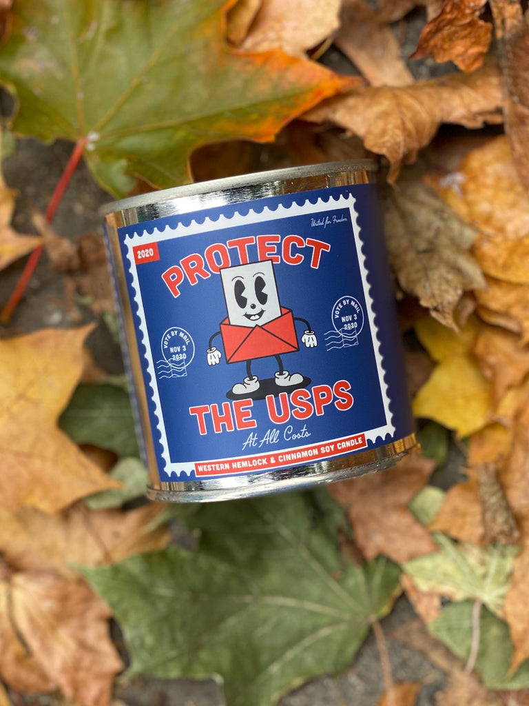 Protect the USPS candle from Good & Well Supply Co