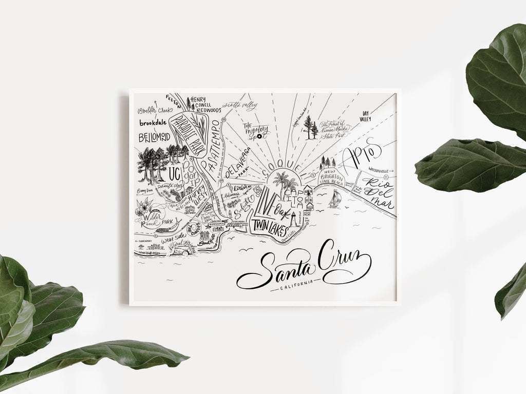 Santa Cruz map print by Traveling Calligrapher