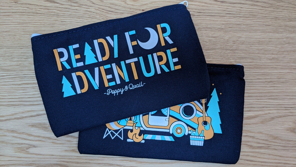 Ready for Adventure travel pouch with camping scene