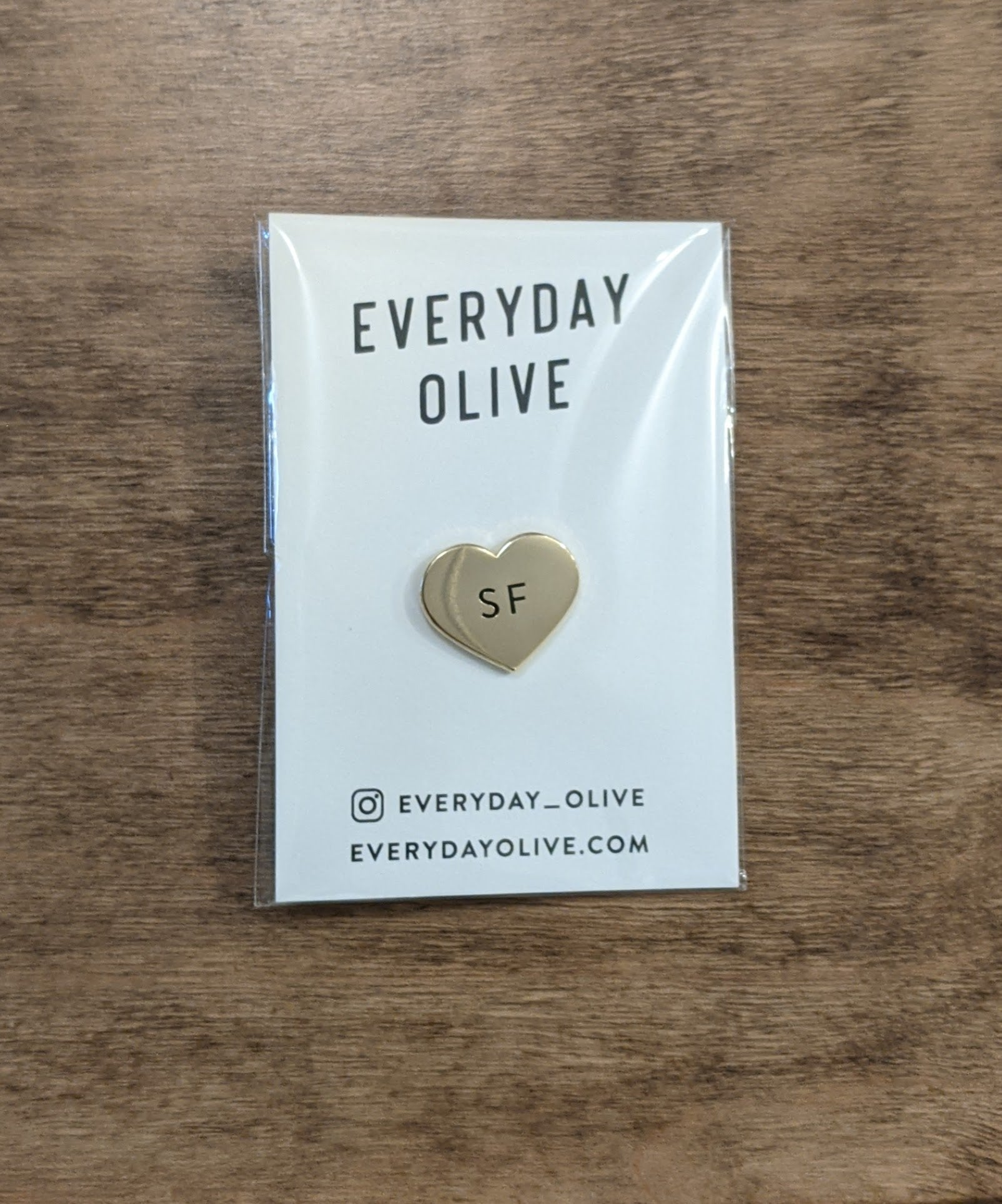Heart SF gold pin from Everyday Olive