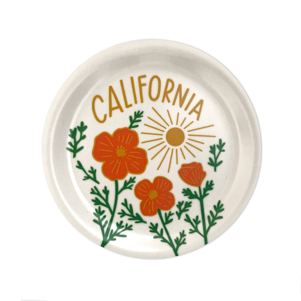 Mini wooden white tray with poppies, sunshine and California