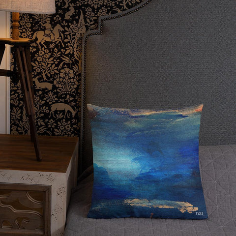 blue cushion with gold