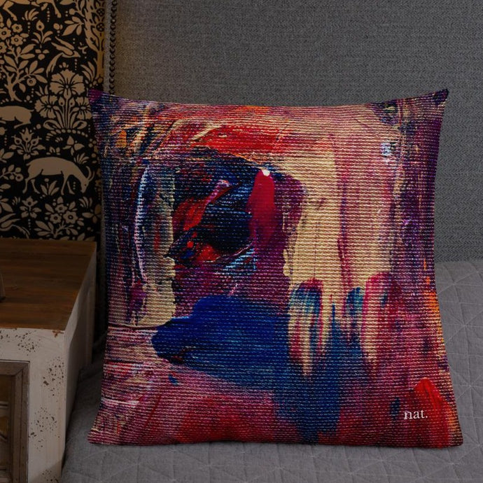 XL Cushion 'anticipating' - nat. live in art