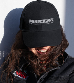 MINECRAFT LOGO EMBROIDERED FLAT BILL HAT