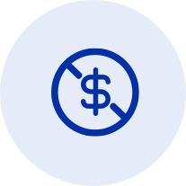 Icon with Dollar symbol with line through it
