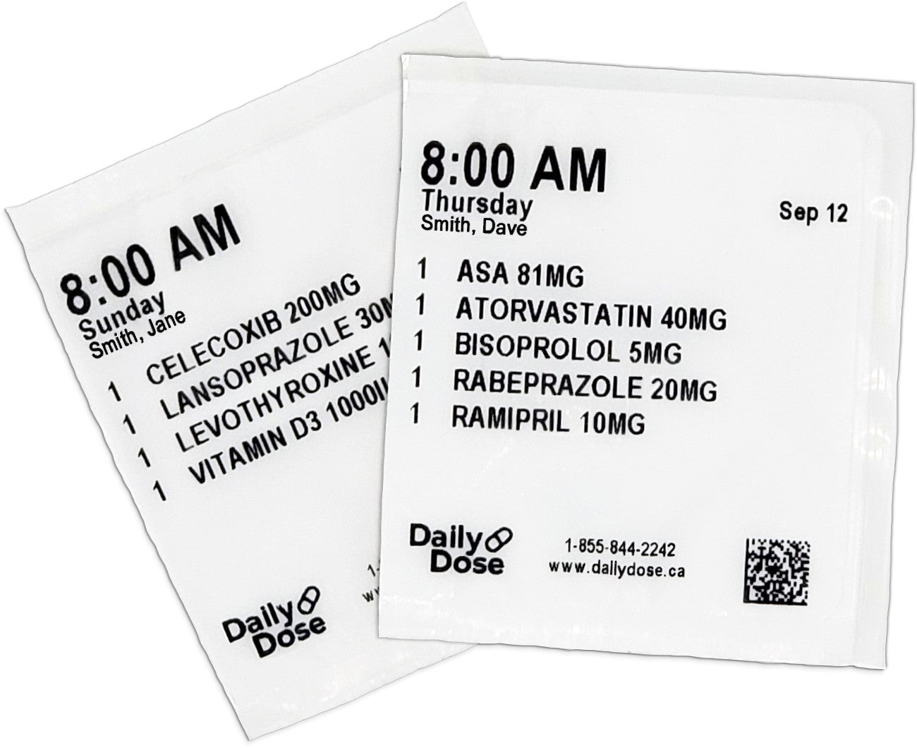 two labels for medications
