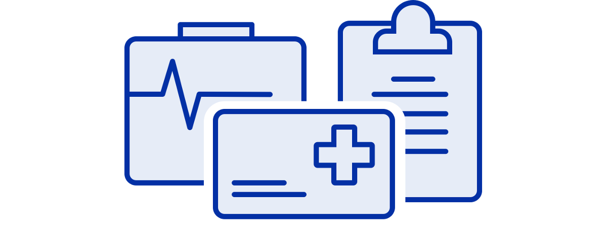 medical id icon with monitor graph and clipboard icons