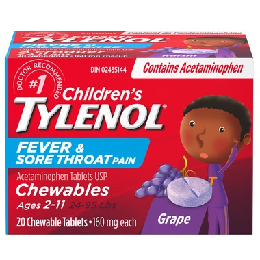 Children's Tylenol Fever & Sore Throat Pain Chewable Tablets - Grape