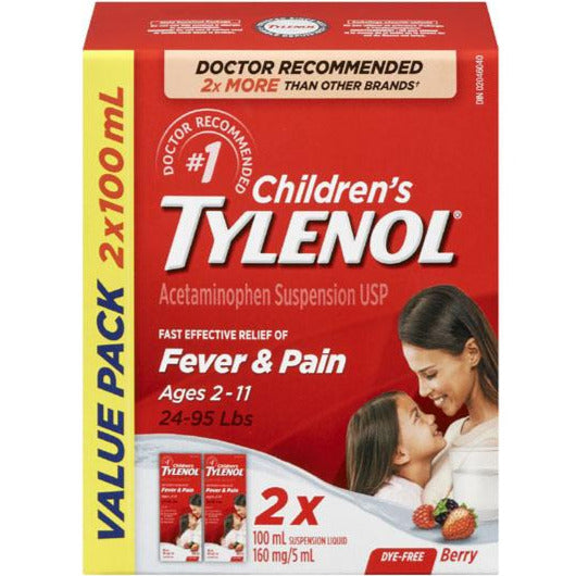 Children's Tylenol Fever & Pain - Dye Free Berry