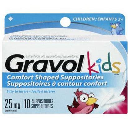 Gravol Kids Comfort Shaped Suppositories 25 mg