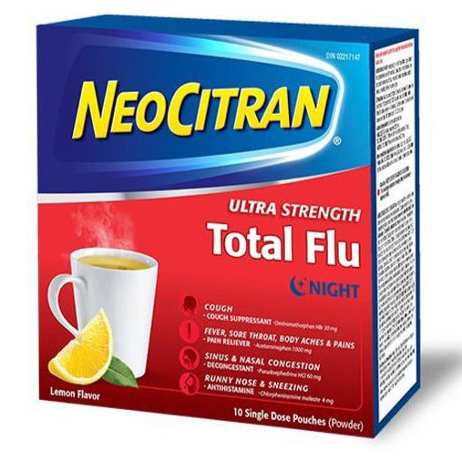 NeoCitran Ultra Strength Total Flu Night - Lemon