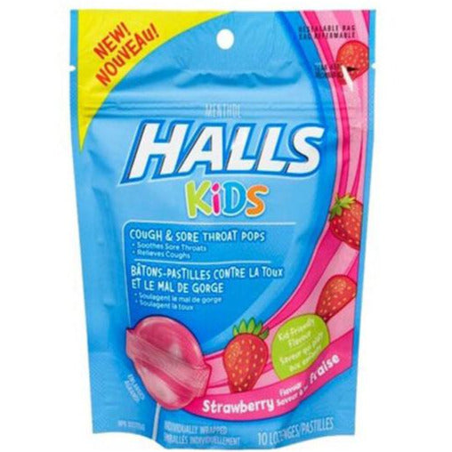 Halls Kids Cough & sore Throat Pops - Strawberry