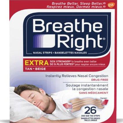 Breathe Right Extra Strong Nasal Strips- Tan