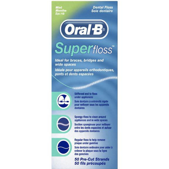 Oral-B Super Floss Pre-Cut Strands - Mint