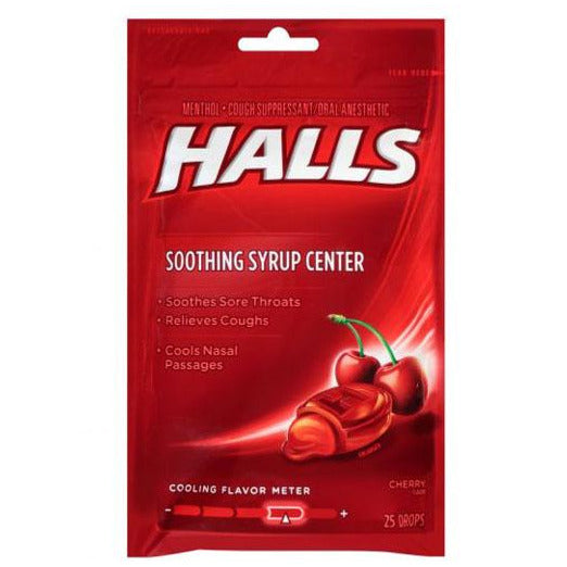 Halls Mentho-lyptus with Soothing Syrup Centre - Cherry
