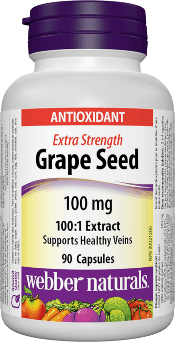 Webber Naturals Grape Seed 100 mg Extra Strength
