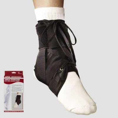 "Ea/1 Otc Maximum Ankle Stabilizer W/ Heel Locking Strap Black L (13-14"") Latex-Free"