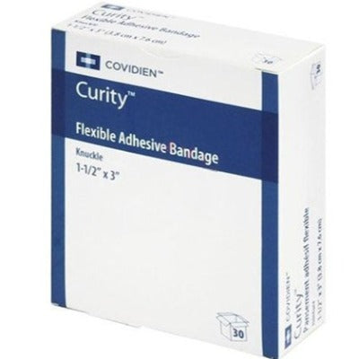 Bx/30 Curity Adhesive Fabric Knuckle Bandage, 1 1/2In X 3In X 7/8In