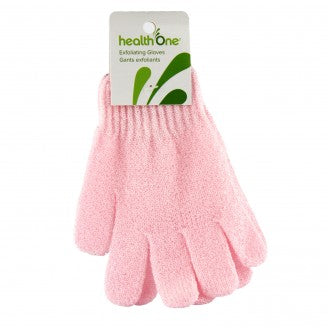 Health ONE Pastel Pink Exfoliating Gloves