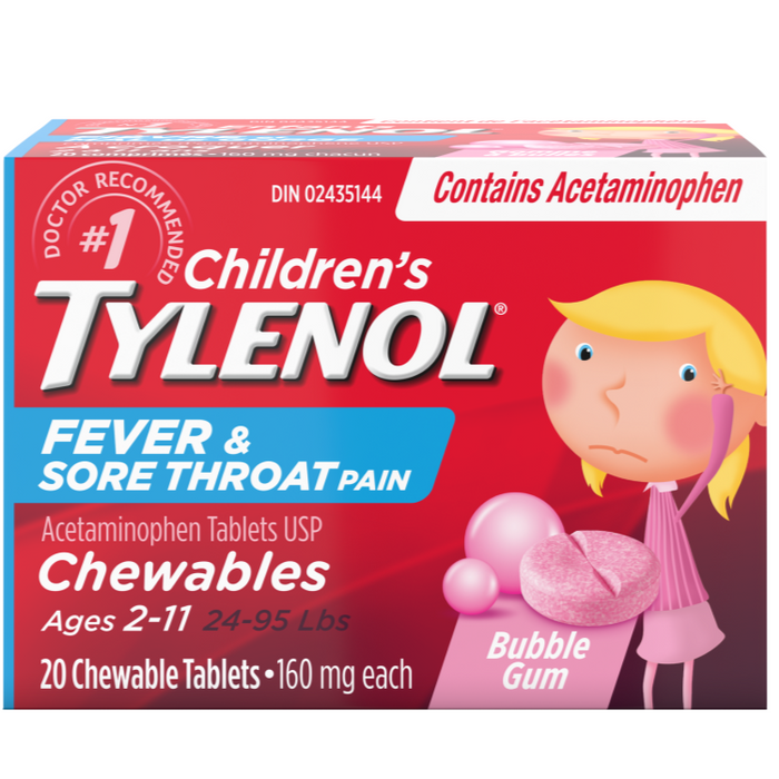 Children's Tylenol Fever & Sore Throat Pain Chewable Tablets -  Bubble Gum