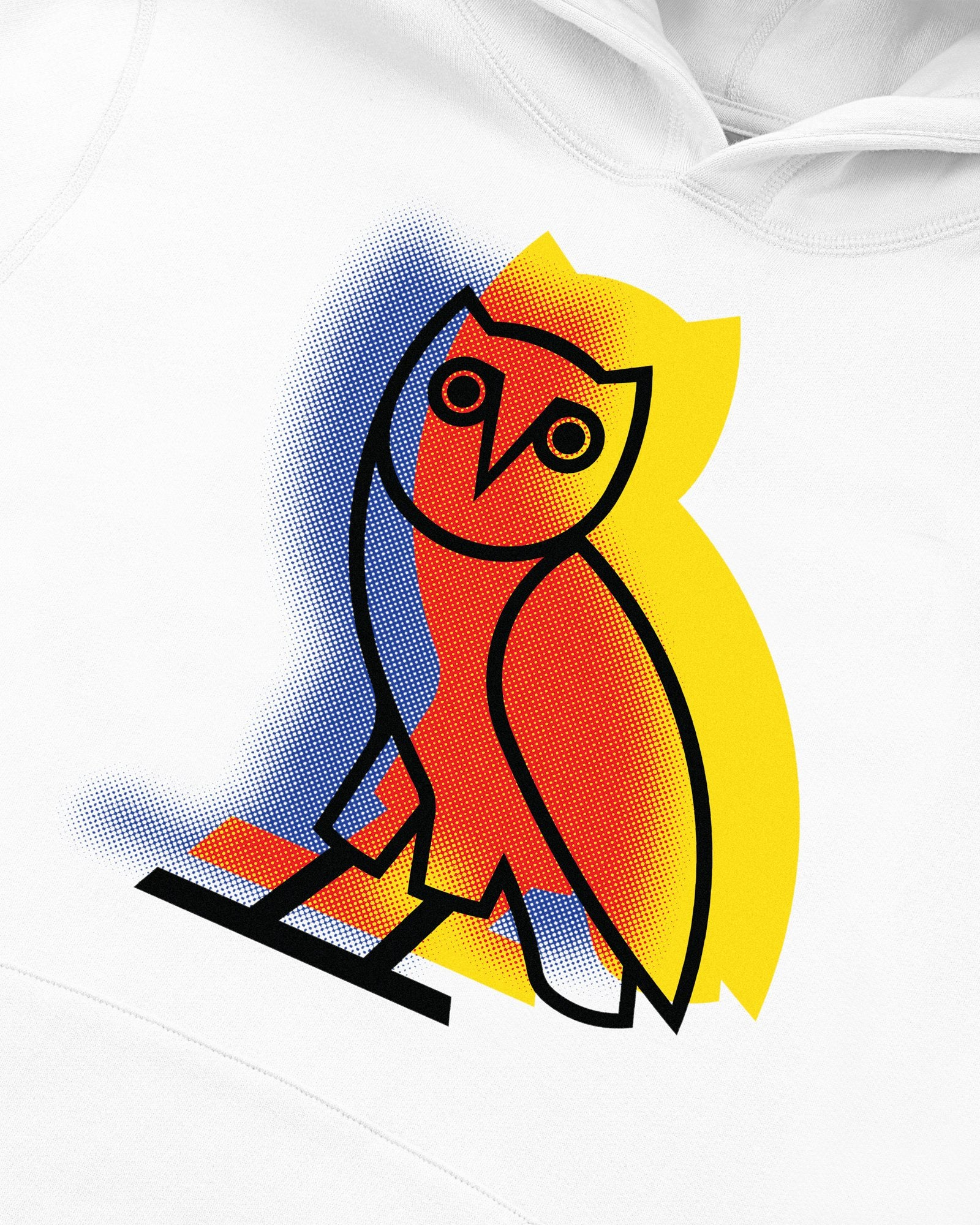 STENCIL OWL HOODIE - WHITE IMAGE #3