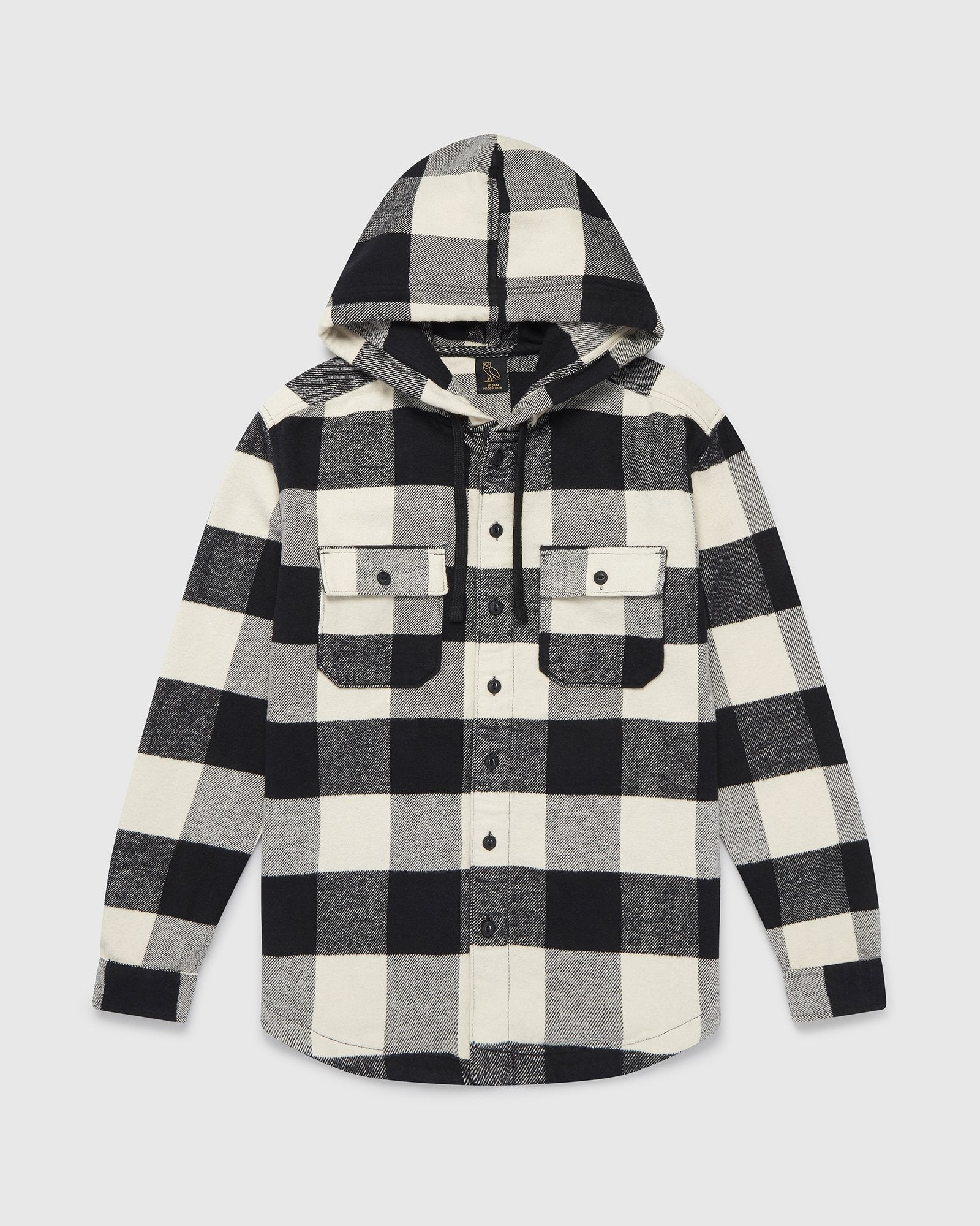 OVO HOODED FLANNEL SHIRT - CREAM BUFFALO PLAID IMAGE #2