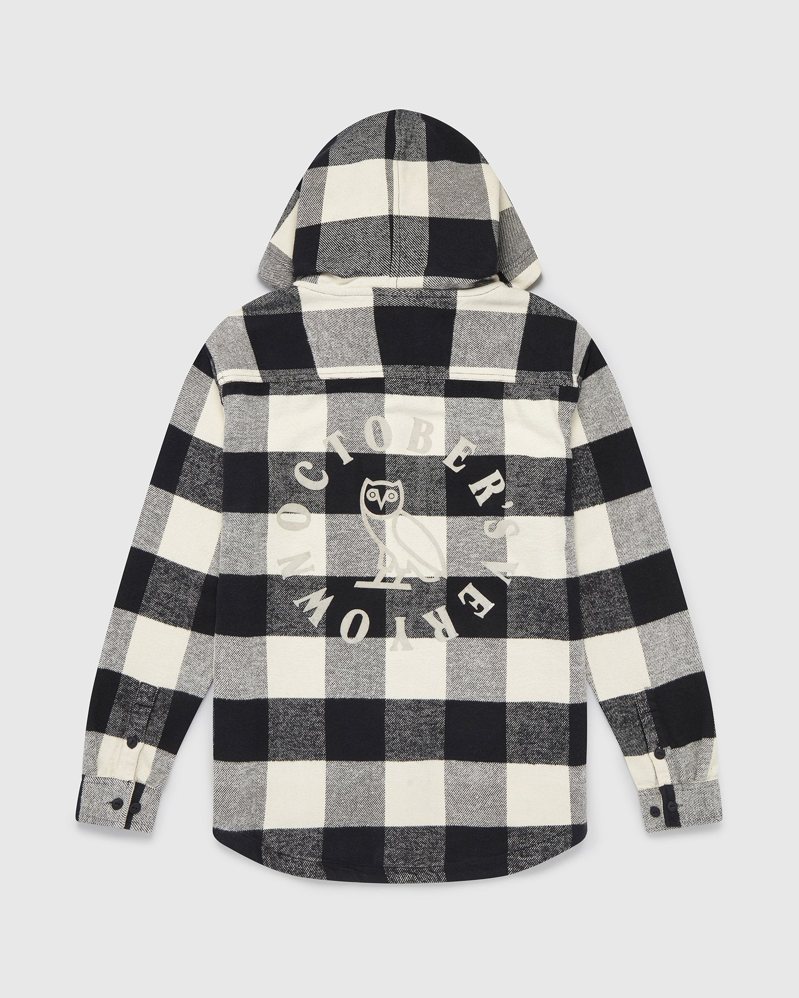 OVO HOODED FLANNEL SHIRT - CREAM BUFFALO PLAID IMAGE #1