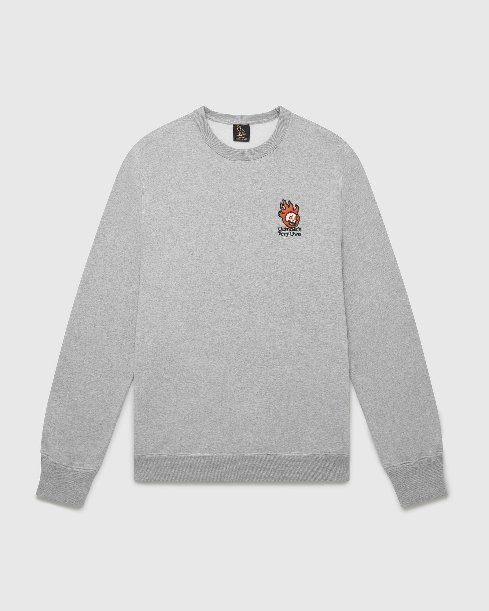 OVO HOT SKULLS™ CREWNECK - HEATHER GREY IMAGE #1