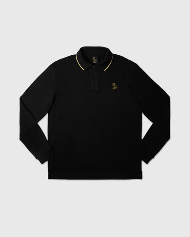 INTERLOCK LONGSLEEVE POLO - BLACK