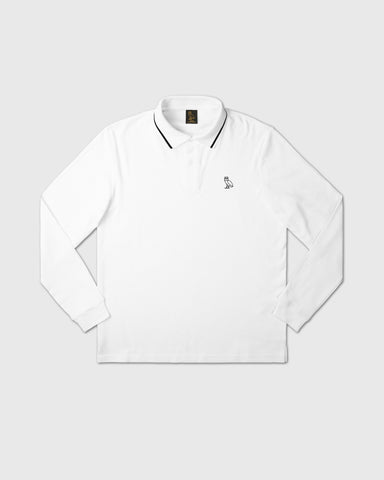 INTERLOCK LONGSLEEVE POLO - WHITE