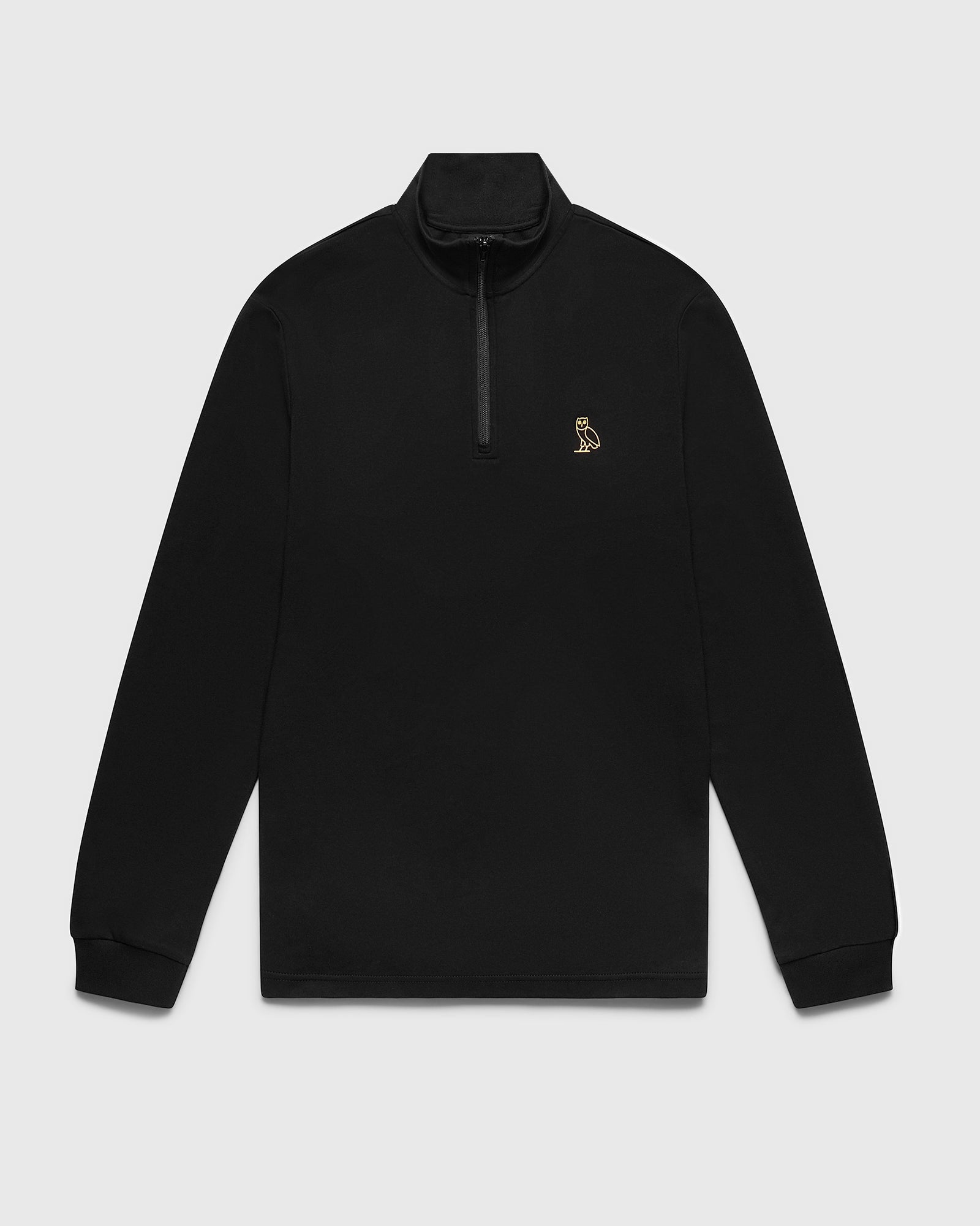 INTERLOCK 1/4 ZIP MOCK NECK - BLACK IMAGE #1