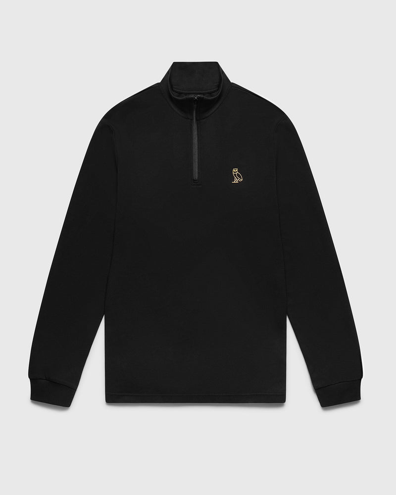 INTERLOCK 1/4 ZIP MOCK NECK - BLACK