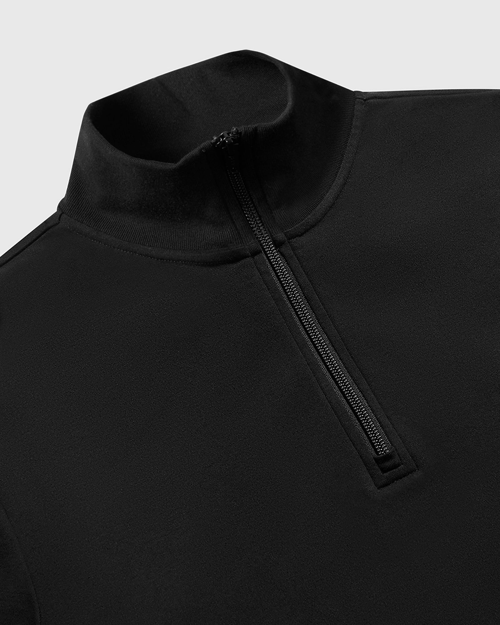 INTERLOCK 1/4 ZIP MOCK NECK - BLACK IMAGE #3