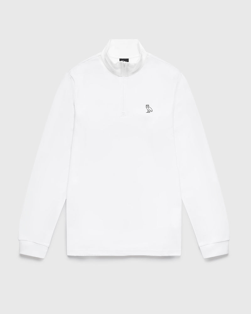 INTERLOCK 1/4 ZIP MOCK NECK - WHITE