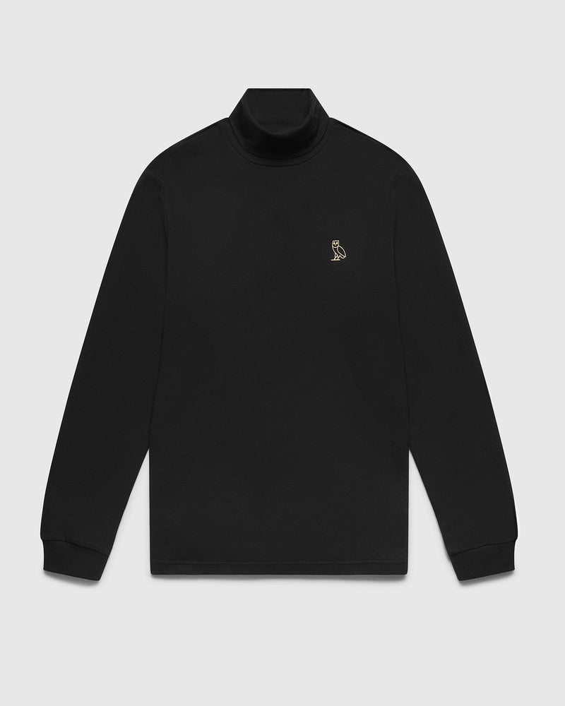 INTERLOCK TURTLENECK - BLACK
