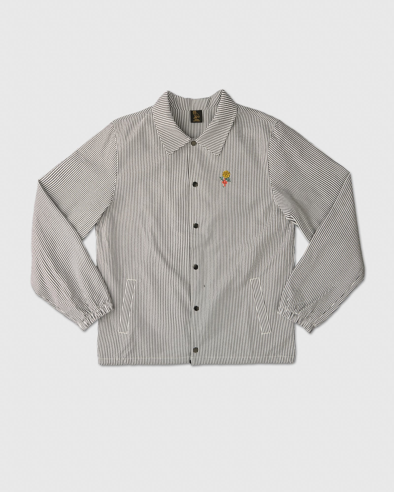 MARIGOLD SEERSUCKER COACHES JACKET - BLACK/WHITE IMAGE #1
