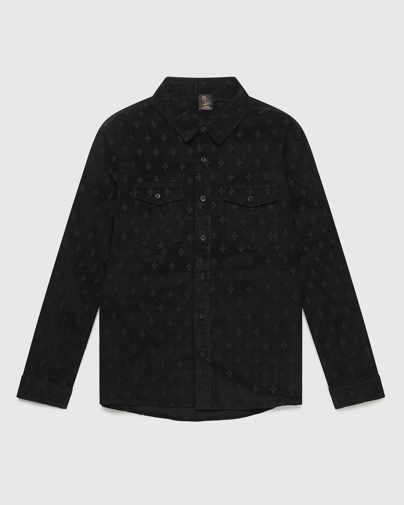 MONOGRAM CORDUROY SHIRT - BLACK