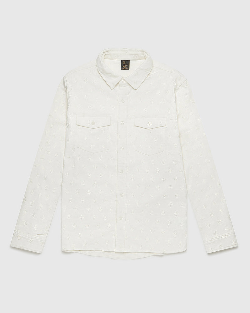 MONOGRAM CORDUROY SHIRT - SNOW
