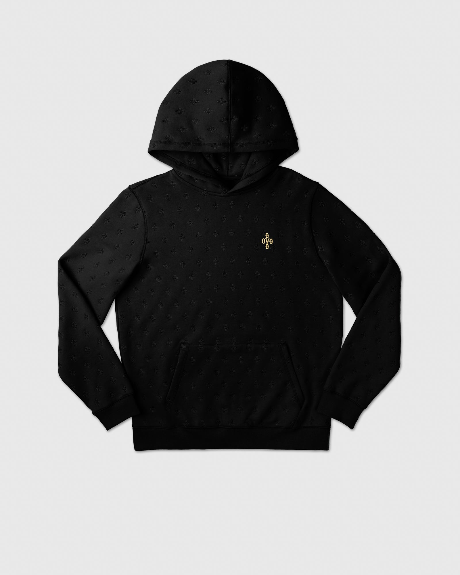 MONOGRAM EMBROIDERED HOODIE - BLACK IMAGE #1