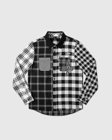 COLOUR BLOCK POM POM PLAID SHIRT - BLACK/WHITE