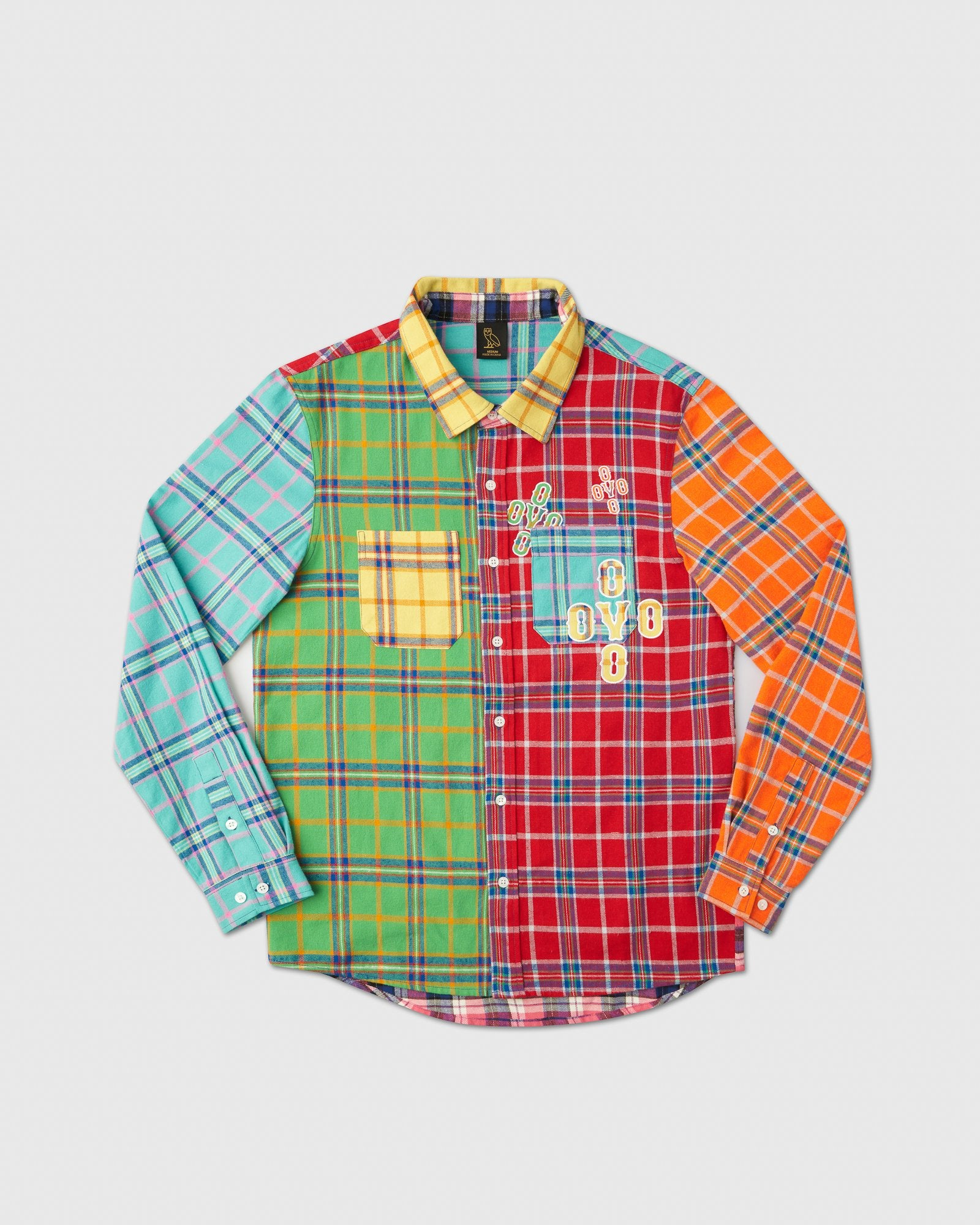 COLOUR BLOCK POM POM PLAID SHIRT - MULTI COLOUR IMAGE #1