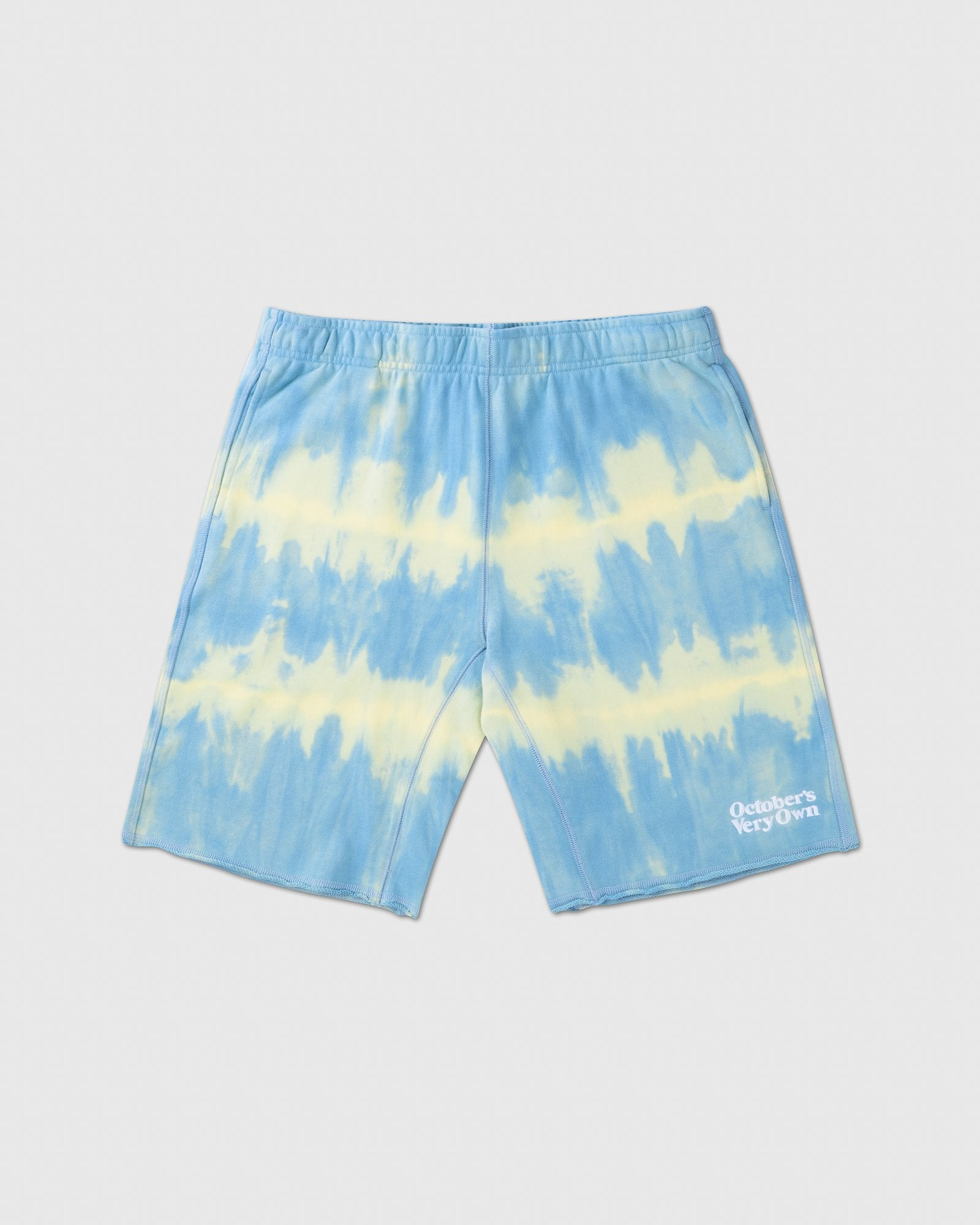 OVO MARBLE TIE DYE SWEAT SHORT - BLUE/YELLOW IMAGE #1