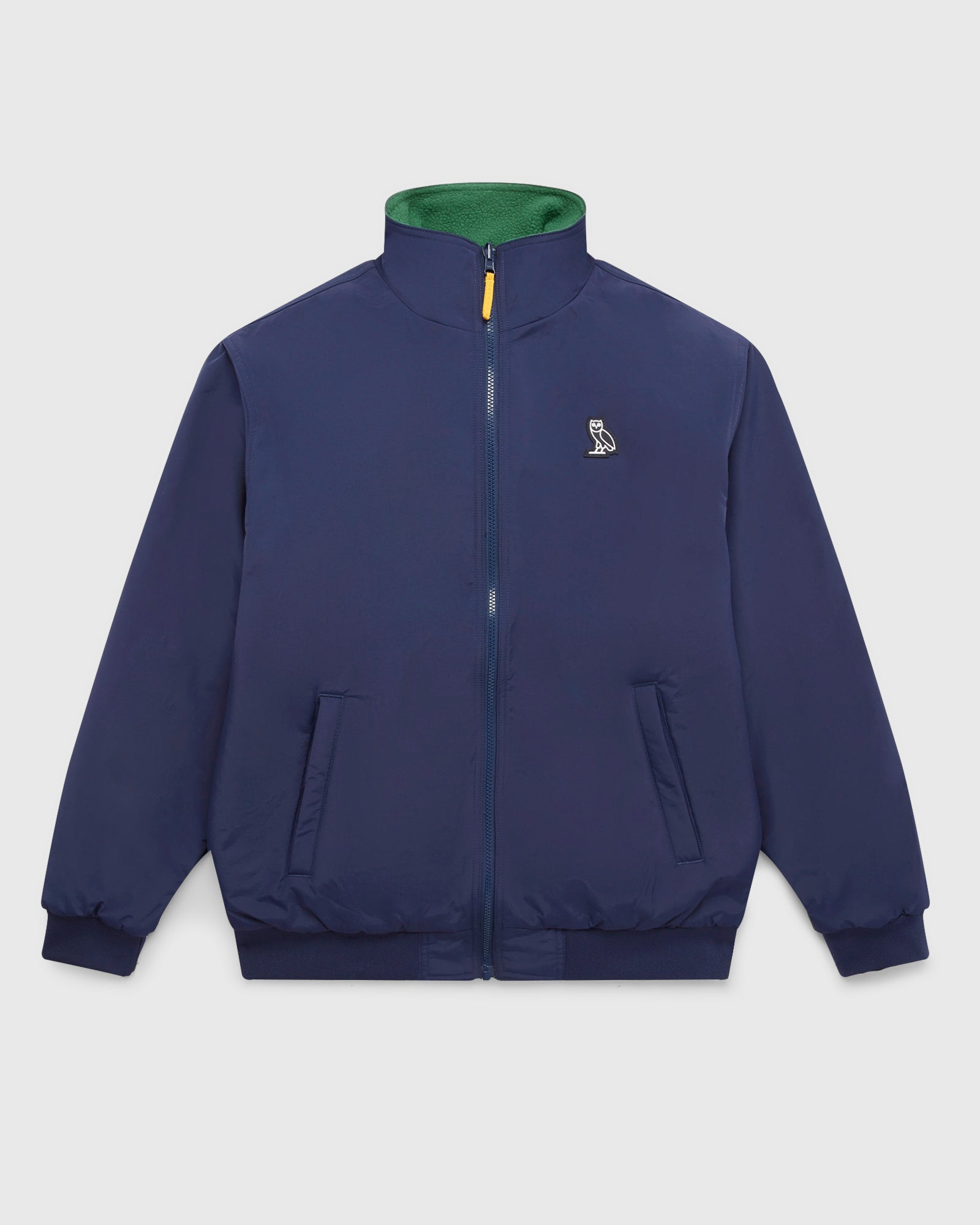 OVO POLARTEC® REVERSIBLE BOMBER - DARK GREEN/NAVY IMAGE #3