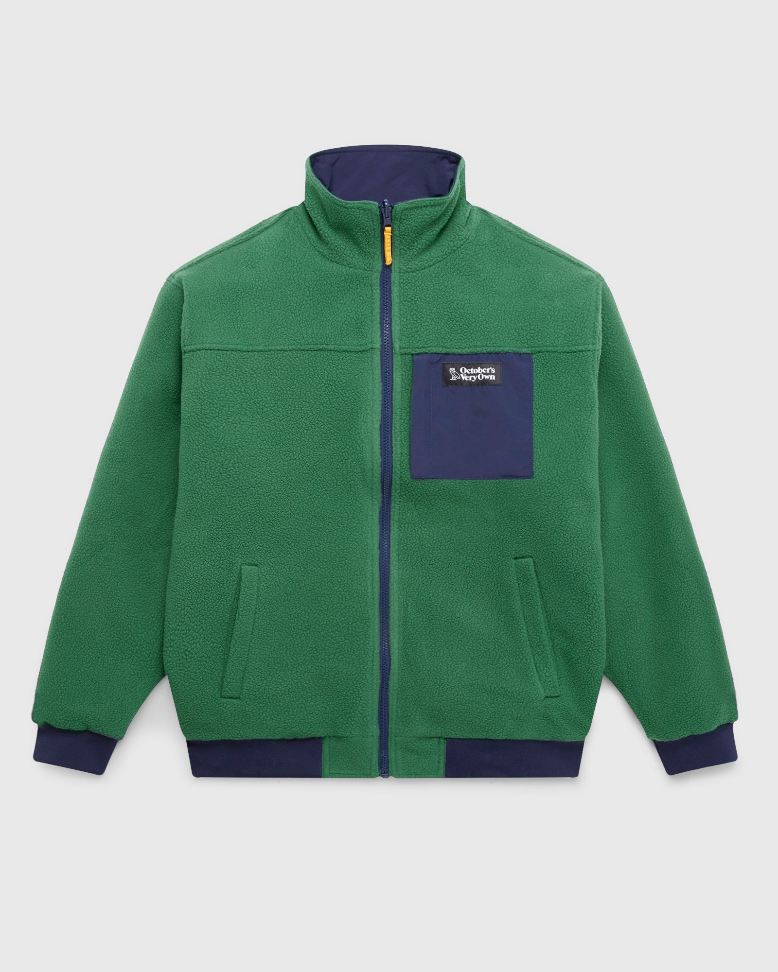 OVO POLARTEC® REVERSIBLE BOMBER - DARK GREEN/NAVY IMAGE #1