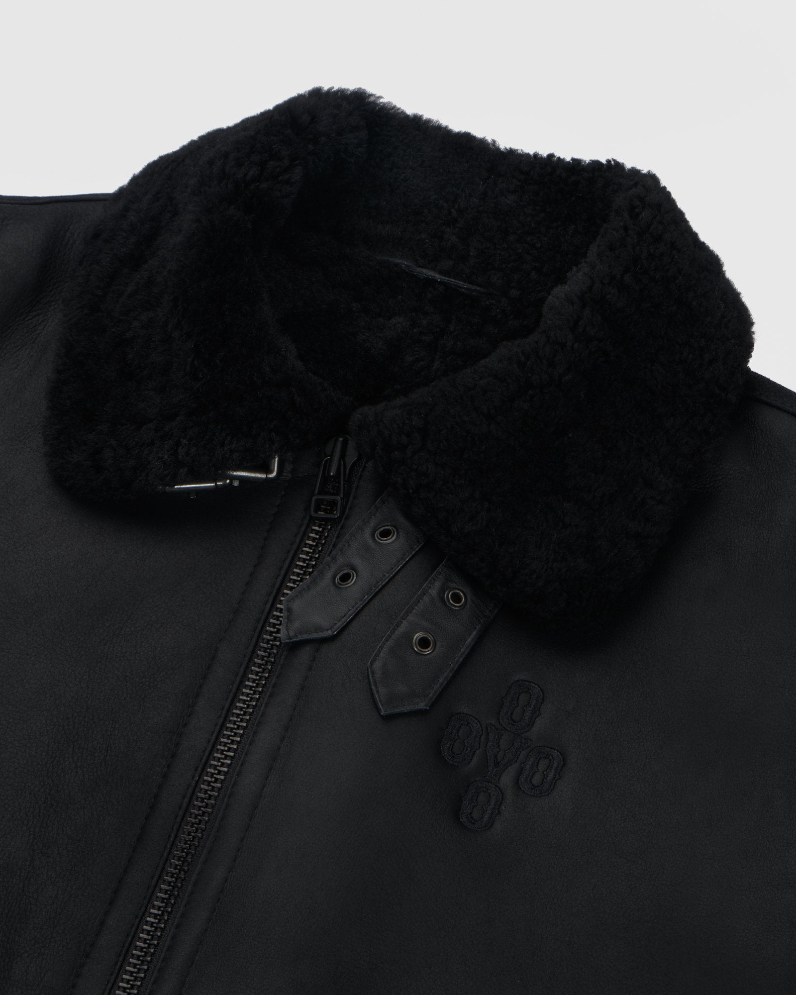 POM POM SHEARLING JACKET - BLACK IMAGE #3