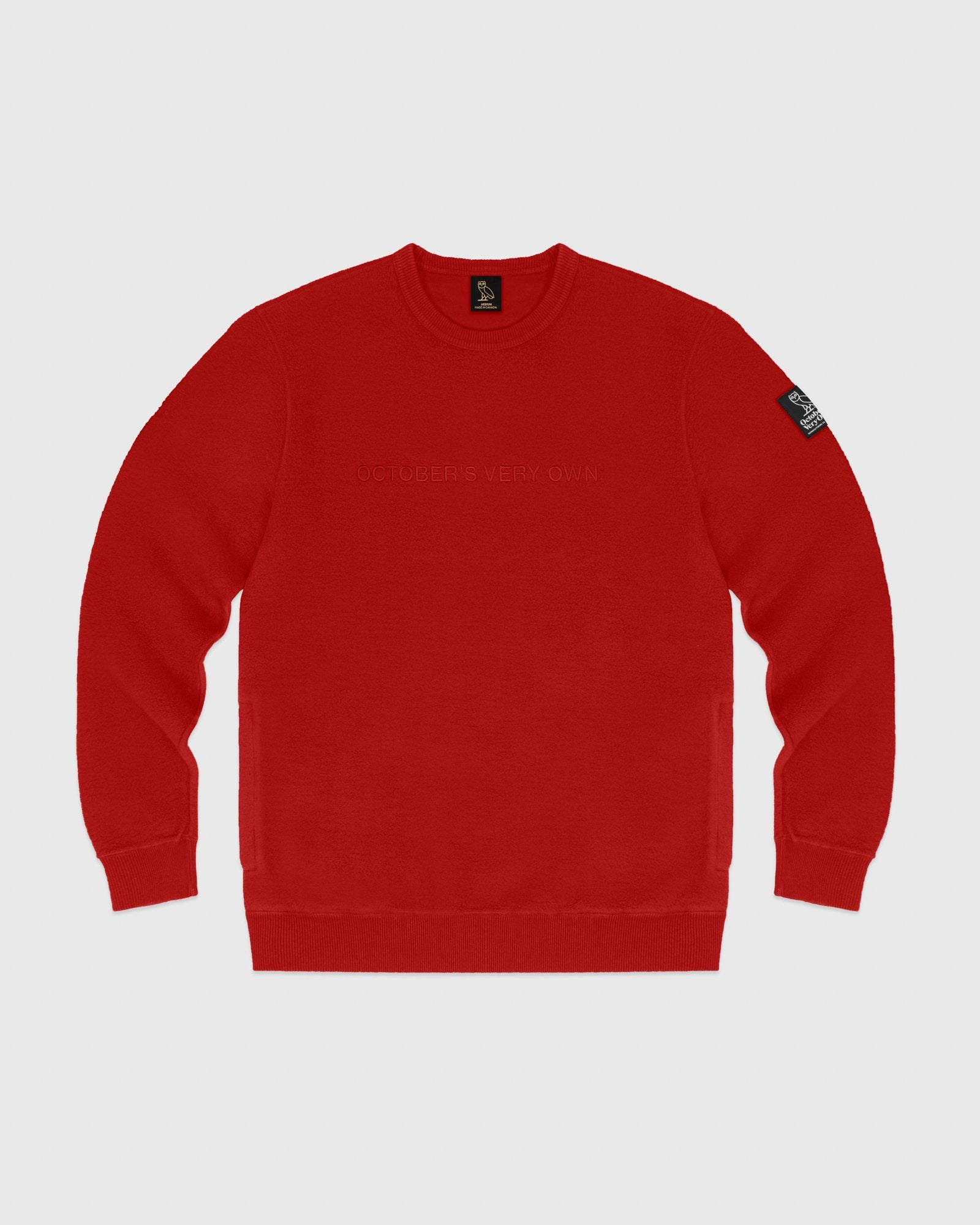 REVERSE FLEECE CREWNECK - RED IMAGE #1