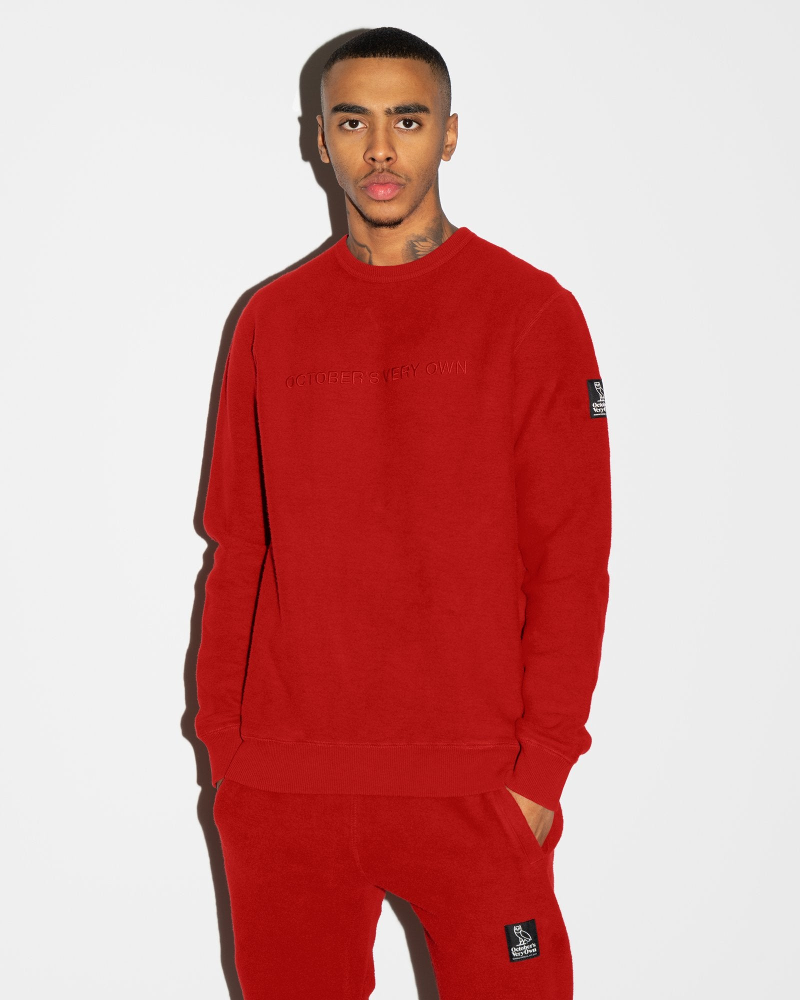 REVERSE FLEECE CREWNECK - RED IMAGE #2
