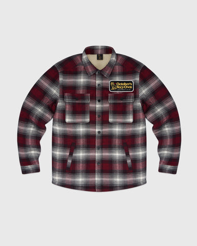 SHERPA LINED PLAID JACKET - RED